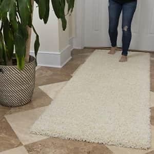 Ottomanson Soft Cozy Color Solid Shag Runner Rug Contemporary Hallway and Kitchen Shag Runner Rug, for $75