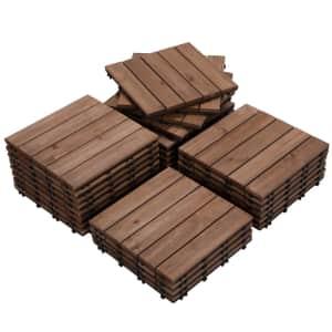 "Easyfashion 12"" x 12"" Interlocking Wood Tile 27-Pack for $80"