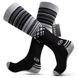 OutdoorMaster Ski Socks 2-Pack Merino Wool, Non-Slip Cuff for Men & Women - Black,M/L for $27