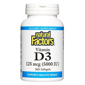 Natural Factors, Vitamin D3 5000 IU (125 mcg), Supports Strong Bones, Muscles and Immune Function, for $25