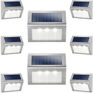 JSOT LED Solar Deck Lights 8-Pack for $37
