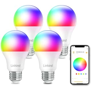 Linkind LED WiFi RGBW Smart Bulb 4-Pack for $15