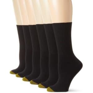 Gold Toe Women's Classic Turn Cuff Socks, Multipairs, Black (6-Pairs), Medium for $10