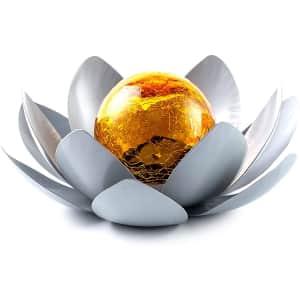 Huaxu Amber Crackle Glass Globe Lotus Solar Light for $20