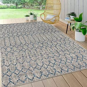 JONATHAN Y Ourika Moroccan Geometric Textured Weave Indoor/Outdoor Gray/Navy 5 ft. x 8 ft. Area for $131