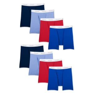 Fruit of the Loom Men's Active Cotton Blend Lightweight Boxer Briefs 8-Pack for $20