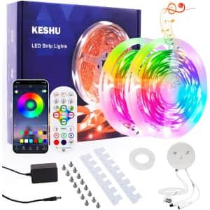 KeShu 50-Ft. RGB LED Strip Lights for $10