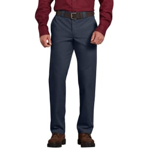 Dickies Men's Slim Fit Straight Leg Poplin Work Pants for $12