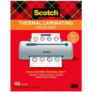 Scotch 5mm Thermal Laminating Pouch 100-Pack for $24