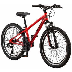 Schwinn High Timber AL Youth/Adult Mountain Bike, Aluminum Frame, 24-Inch Wheels, 21-Speed, Red for $419