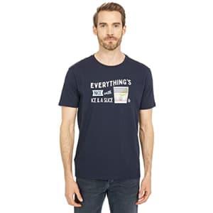Original Penguin Men's Standard Ice & A Slice Short Sleeve Tee Shirt, Dark Sapphire, Medium for $22