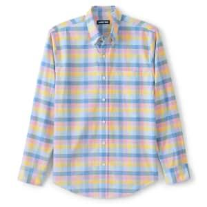 Lands' End Men's Traditional Fit Essential Lightweight Poplin Shirt for $7