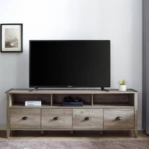 """Welwick Designs 70"""" 4-Drawer Farmhouse TV Stand for $242"""