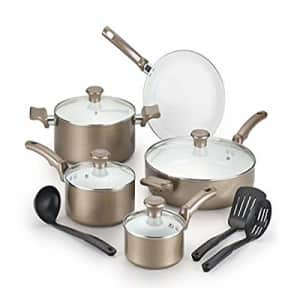 T-fal C991SE Ceramic Chef Cookware Set, 12-Piece, Champagne for $150