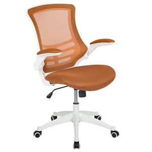 Flash Furniture Mid-Back Tan Mesh Swivel Ergonomic Task Office Chair with White Frame and Flip-Up for $362