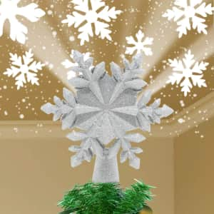 LED Snowflake Christmas Tree Projector with Built-in Rotating Magic Ball for $26