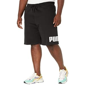 "PUMA Men's Big Logo 10"" Shorts BT, Cotton Black/White, 3XL for $21"