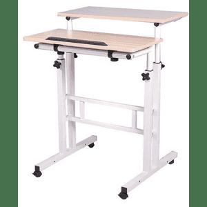 Mind Reader 2-Tier Adjustable Sit and Stand Mobile Workstation Desk for $60