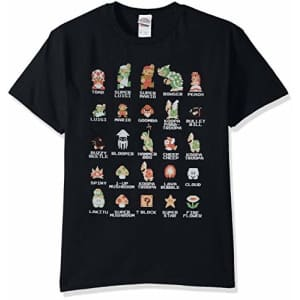 Nintendo Men's Pixel Cast T-Shirt, Black, Small for $15