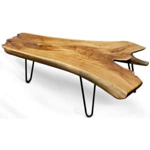 StyleCraft Badang Live Edge Teak Wood Coffee Table for $323