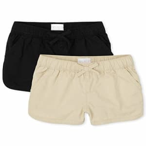 The Children's Place Girls Twill Pull On Shorts 2-Pack, Black, 8 for $14