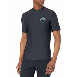 Billabong Men's Loose Fit Long Sleeve Rashguard Surf Shirt, Black Vacation SS, M for $36