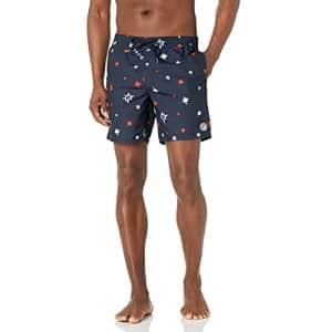 Volcom Men's Standard 17-Inch Elastic Waist Surf Swim Trunks, 4th of July-Navy, Large for $31