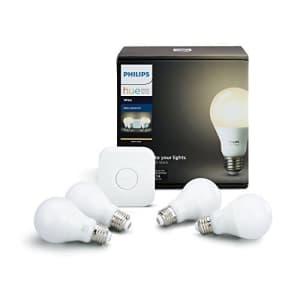 Philips Hue White A19 60W Equivalent LED Smart Bulb Starter Kit (4 A19 White Bulbs and 1 Hub for $80