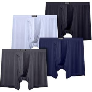 Fousupdt Men's Long Leg Boxer Brief 4-Pack for $10