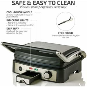 Ovente Electric Panini Press Grill Bread Toaster Nonstick Double Sided Flat Plates with 3 for $53