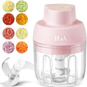H1A Wireless Electric Mini Food Processor for $13