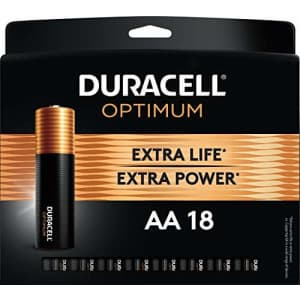 Duracell Optimum AA Batteries | 18 Count Pack | Lasting Power Double A Battery | Resealable Package for $15