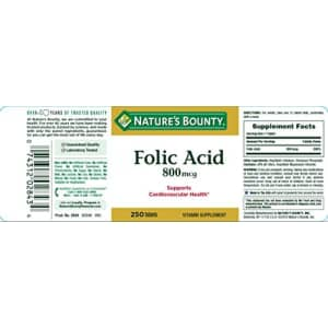 Nature's Bounty Folic Acid Supplement, Supports Cardiovascular Health, 800mcg, 250 Tablets, 3 Pack for $15