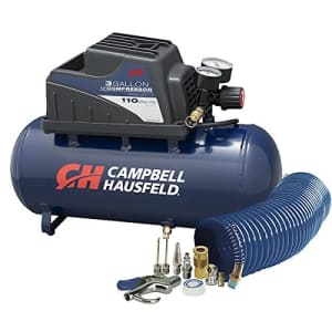 Campbell Hausfeld Air Compressor, Portable, 3 Gallon Horizontal, Oilless, w/ 10 Piece Accessory Kit Including Air for $311
