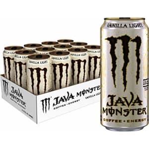 Monster Energy Java Monster Vanilla Light, Coffee + Energy Drink,15 Fl Oz (Pack of 12) for $48