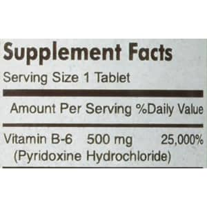 Mason Vitamins B 6 500 mg Tablets, 60 Count for $17