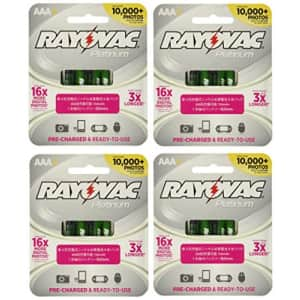 Rayovac 16 x Platinum pre-Charged (New Hybrid Replacement) 800 mAh Rechargable AAA NiMH Batteries for $30