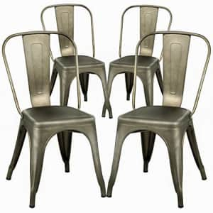 FDW Dining Chairs Set of 4 Metal Chairs Patio Chair Dining Room Kitchen Chair 18 Inches Seat Height for $230