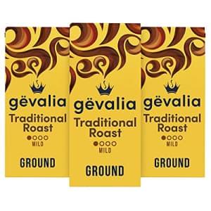 Gevalia Traditional Roast Mild Light Roast Ground Coffee (12 oz Bag, Pack of 3) for $18