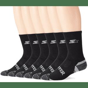 Starter Men's 6-Pack Athletic Crew Socks for $15