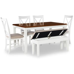 Powell Company Twyla 6-Piece Solid Hardwood Dining Set w/ Bench for $664