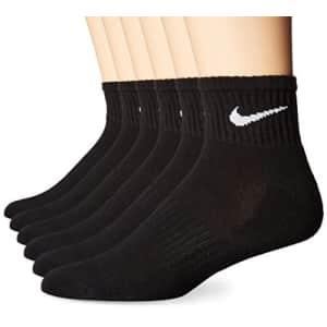 NIKE Unisex Performance Cushion Quarter Socks with Bag (6 Pairs), Black/White, Medium for $32