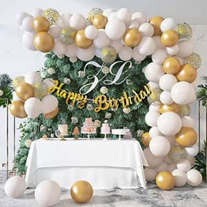 Ouddy 101Pcs White Birthday Balloons Garland Arch Kit, White Gold Confetti Balloons Happy Birthday Banner for $5