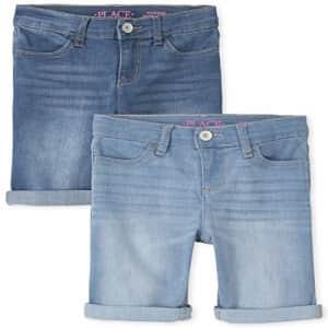 The Children's Place Girls Roll Cuff Denim Skimmer Shorts 2-Pack, REFLECTBLUE WSH, 14 for $20