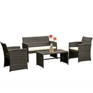 FDW 4 Pieces Outdoor Patio Furniture Sets Rattan Chair Patio Set Wicker Conversation Set Poolside for $177