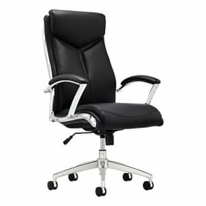 Realspace Verismo Modern Comfort Executive Bonded Leather High-Back Chair, Black/Chrome for $210