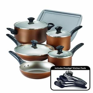 Farberware Dishwasher Safe Nonstick Cookware Pots and Pans Set, 15 Piece, Copper for $70