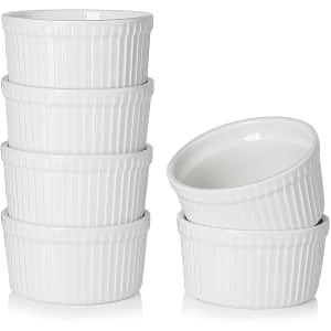 Teocera 8-oz. Porcelain Ramekins / Souffle Dishes 6-Pack for $10