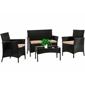 FDW Patio Furniture Set 4 Pieces Outdoor Rattan Chair Wicker Sofa Garden Conversation Bistro Sets for $199