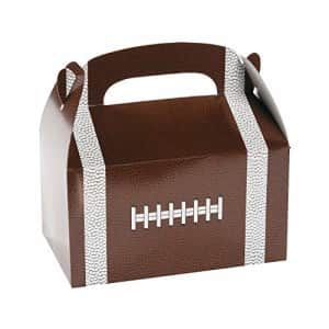 Fun Express Football Shaped Treat Boxes for Birthday and Sports Party Supplies - 12 Pieces for $16